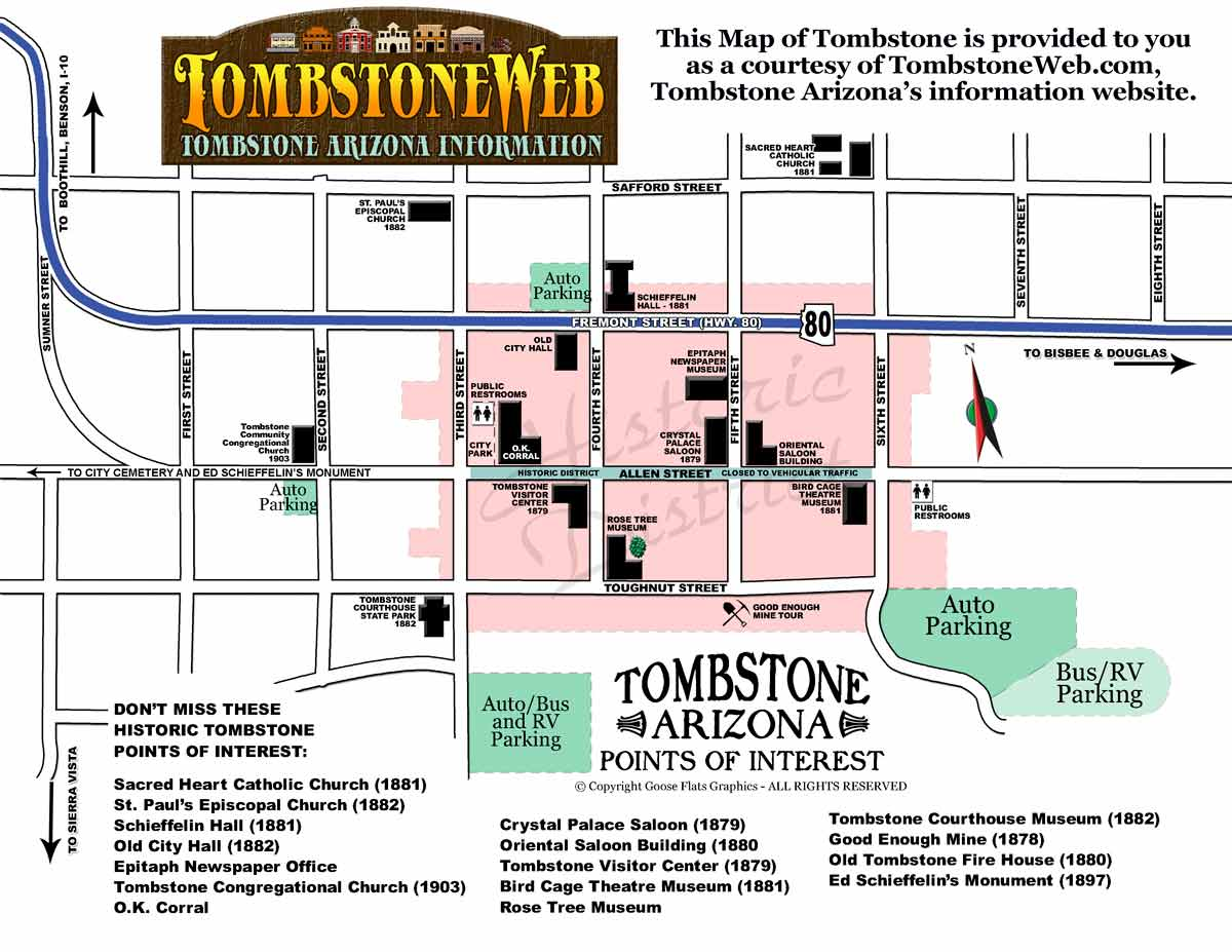 Arizona Points Of Interest Map.Tombstone Map Tombstoneweb Com